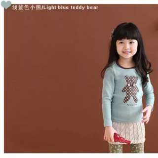 Light Blue Teddy Bear Long Sleeve T-shirt Size 120