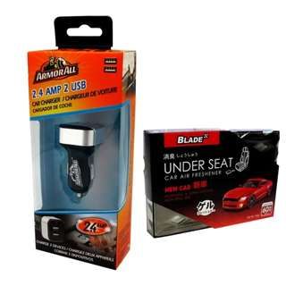 Armor All ACC8-1003 2.4AMP Dual Port Car Charger with Blade Under Seat Car Air Freshener New Car