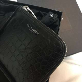 Saint Laurent Paris L zip leather wallet crocodile slp card holder
