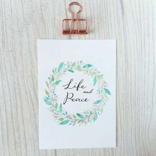 Watercolour Floral Leaves Wreath Card (Life And Peace) Pearlescent Paint