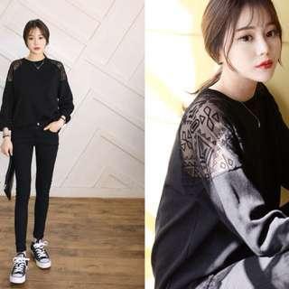 韓國黑色透膚圖騰長袖T恤