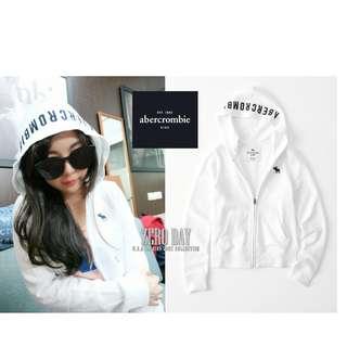 A&F專櫃帶回真品Abercrombie&Fitch icon full-zip hoodie內刷毛薄連帽外套白