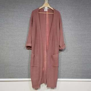 Dusty Pink Blush Long Knit Cardigan