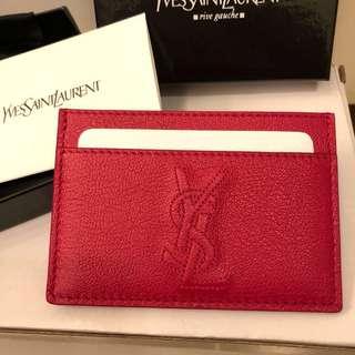 全新 YSL 紅色 card holder