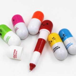 Pulpen pen bolpen mini bentuk kapsul lucu warna warni import - KSY039 - Biru
