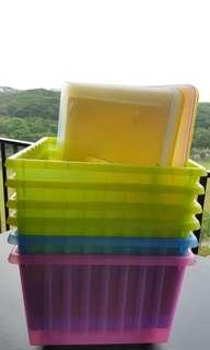 IKEA Vessla (Pink/Green/Blue) Storage Box With Wheels & Lids