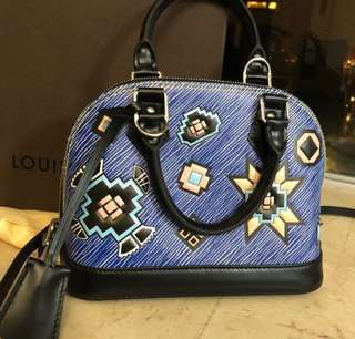 Louis Vuitton Alma BB Epi Azteq blue denim limited edition