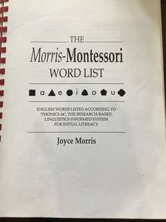 the Morris -Montessori word list by joyce Morris