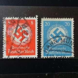 lapyip1230] 德意志帝國 1942年 納粹黨黨徽 政府公文貼用票