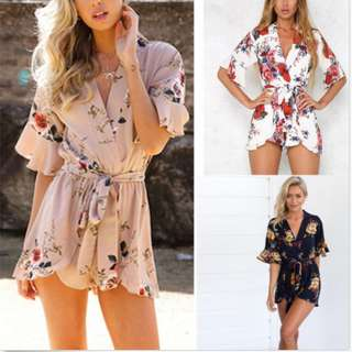 Short Sleeve Mini Playsuit Beach Summer Floral Holiday Jumpsuit Romper