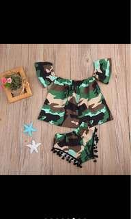 Summer camouflage crop top pants pompom set infant baby girl toddler
