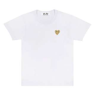 CDG Play Tee | Gold Heart (White)