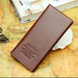 Dompet kulit pria cowo panjang branded import sintetis murah - FAP005 - Coklat