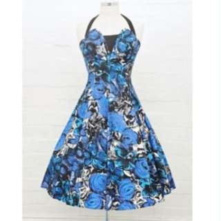 RETROSPEC'D LILLI BLUE ROYAL ROSE FLORAL 50s VINTAGE HALTER DRESS *NWOT* 8 10