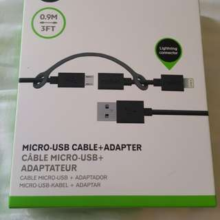 Micro SUB cable +adapter- Brand new