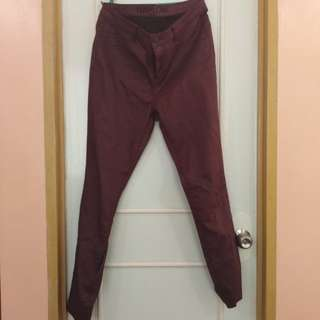 High Waisted Burgundy Pants