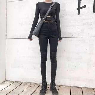 🚚 🉐️高腰彈力緊身牛仔黑褲
