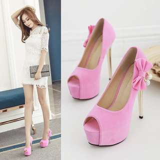 Size 34-39 Peep Toes Ribbon Bow At Side High Heels