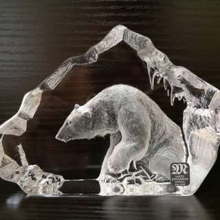 Mats jonasson full lead crystal polar bear onnerment
