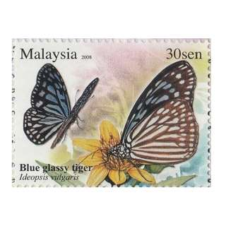 2008 Butterflies of Malaysia Blue Glassy Tiger 30s x 2 Mint MNH SG #SB21 (1482) (D)