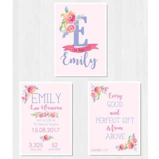 Personalised Baby Stats/Name/Nursery Decoration