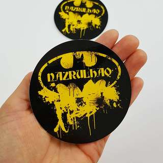 Batman Themed Customise Name Sticker - 8cm Diameter Round Shape