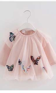 (P) Baby Girl Butterfly Netting Dress