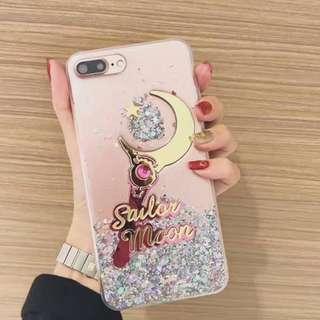 手機殼IPhone6/7/8/plus(沒有X) : 美少女戰士星月棒閃粉透明軟殼