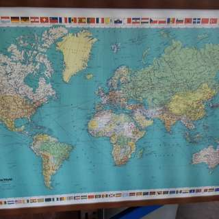 World Map frame in wood 36 inch by 22 inch