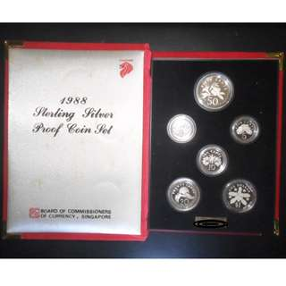 1988 Singapore 1¢ - $1 Silver Proof Coin Set