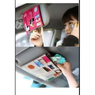 Sun visor car organizer mobil simpan hp tiket karcis tol parkir HMO005 - Krem