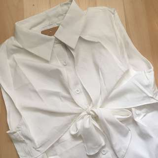 白色恤衫背心連身裙 white shirt vest dress