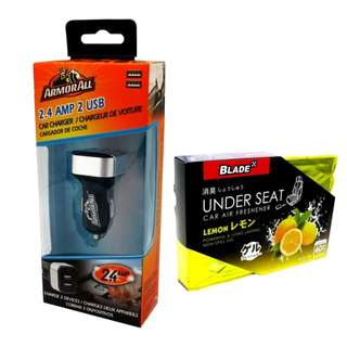 Armor All ACC8-1003 2.4AMP Dual Port Car Charger with Blade Under Seat Car Air Freshener Lemon