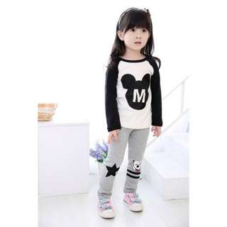 Girls Clothing Long Sleeve Suit Mickey Printed 2-8Y