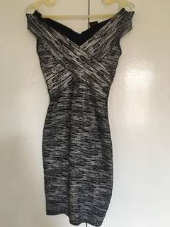 Mags bodycon off shoulder  silver dress