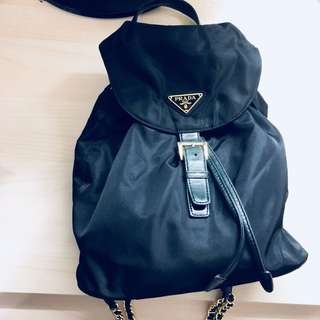 Prada Backpack black x gold