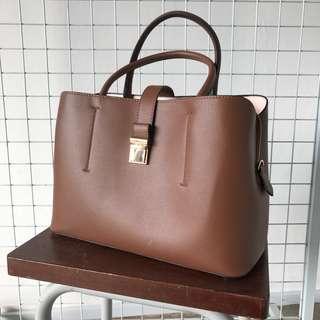 H&M Brown Handbag with Sling Strap Option