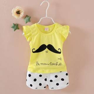 aby Toddler Girls Suit Fly Sleeve Beard Printed Top Polka Dots Hot Pants