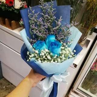 3 Stalk Blue Rose Bouquet