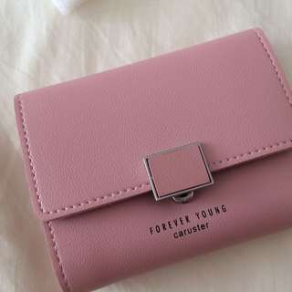 South Korea female New buckle wallet small coin purse (Pink)