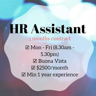 Up $2500 HR Assistant (5 days/Buona Vista)
