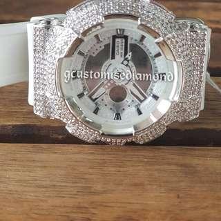 Customise white diamond baby g