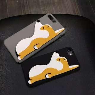 手機殼IPhone6/7/8/plus(沒有X) : 可愛柯基狗全包磨砂硬殼