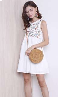 Summer embroidery babydoll dress in white