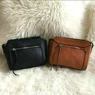 Sale! Stradivarius sling bag brown and black tas