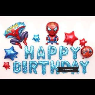 🦄 [Instock] Happy Birthday Party Decor Balloon Sets - Spiderman