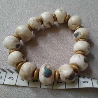 西藏老硨磲白松石小品手串