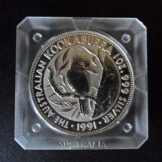 1991 Australia Kookaburra $5 1oz 999 Fine Silver Coin