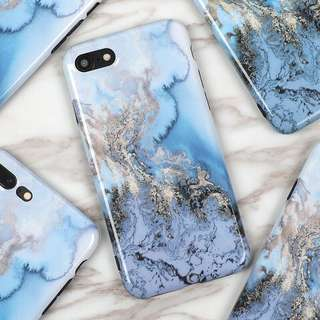 Blue Crystal Marble with Silver Gold Lining iPhone case