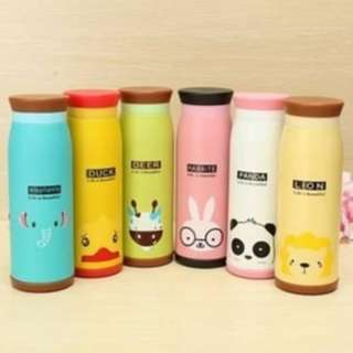 Botol minum anak air panas stainless steel motif binatang murah KHB010 - Bebek Kuning